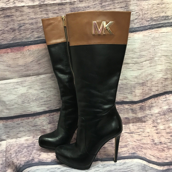 f008d35e4337 Michael Kors Hayley Two Tone (Black/Brown) Boots. M_5b7551376a0bb726310782ea